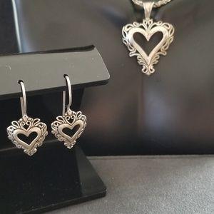 Vintage Sterling Silver Heart Pendant & Earrings